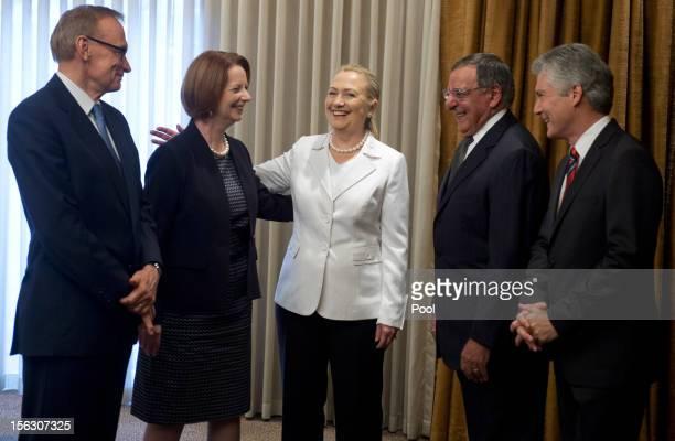The Australian Minister for Foreign Affairs Bob Carr Australian Prime Minister Julia Gillard US Secretary of State Hillary Clinton US Secretary of...