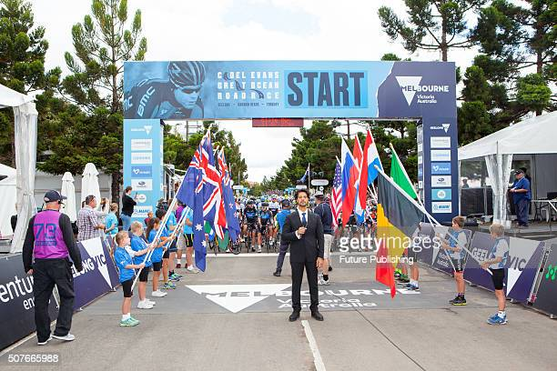 The Australian national anthem being sung before the start of the Great Ocean Road Race also known as Men's Elite Race on January 31 2016 in...