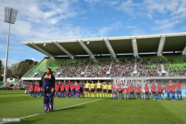 The Australian national anthem is performed during the 2017 WLeague Grand Final match between the Perth Glory and Melbourne City FC at nib Stadium on...