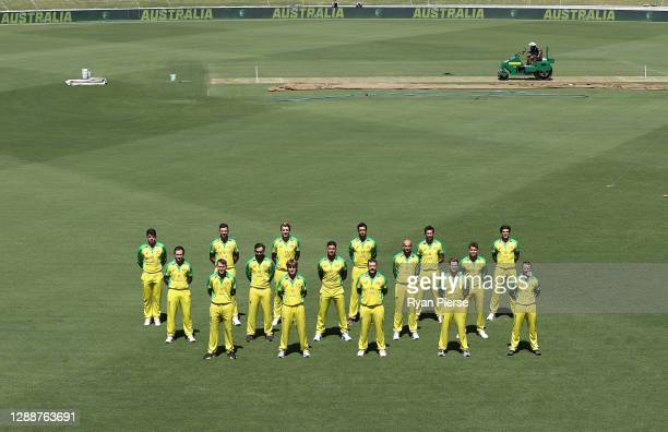 The Australian ODI team pose for a team photo at Manuka Oval on December 01, 2020 in Canberra, Australia.