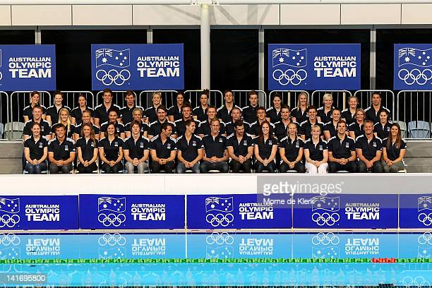 The Australian Olympic Team pose during the official 2012 Australian Olympic Games Swimming Team Announcement at the South Australian Aquatic Leisure...
