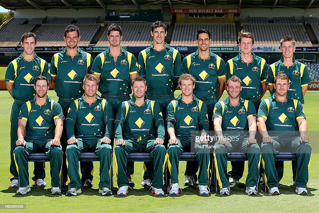 The Australian One Day International Cricket Team pose for an official team photo before an Australian One Day International training session at WACA on January 30, 2013 in Perth, Australia.