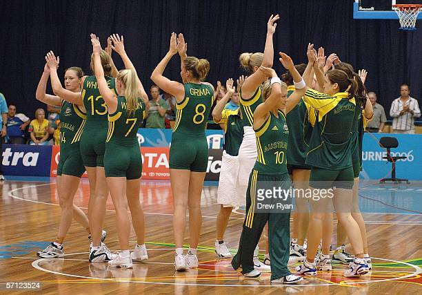 The Australian Opals acknowledge the crowd after the women's preliminary final game between Mozambique and Australia on day 3 of the Commonwealth...