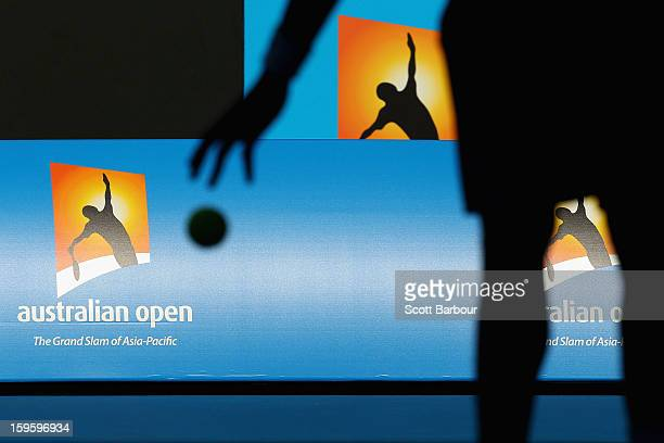 The Australian Open logo is seen during the second round match between Gael Monfils of France and YenHsun Lu of Chinese Taipei during day four of the...