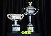 melbourne australia australian open trophies are