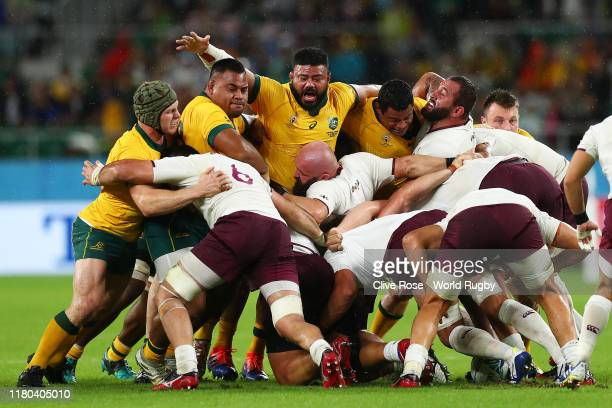The Australian pack compete against the georgian pack during the Rugby World Cup 2019 Group D game between Australia and Georgia at Shizuoka Stadium...