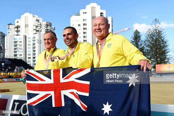 The Australian Para Open Triples team of Ken Hanson Josh Thornton and Tony Bonnell pose for photos after winning the ParaSport Open Triples gold...