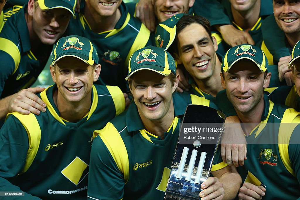 The Australian players celebrate after they defeated the West Indies to win the series in game five of the Commonwealth Bank International Series between Australia and the West Indies at the Melbourne Cricket Ground on February 10, 2013 in Melbourne, Australia.