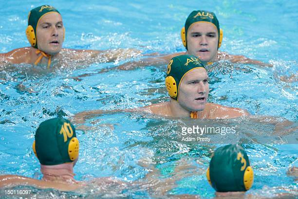 The Australian players form a circle ahead of the Men's Water Polo Semifinal 58 match betweenHungary and Australia on Day 14 of the London 2012...