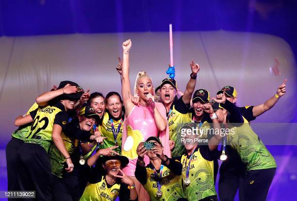 The Australian players join Katy Perry on stage after the ICC Women's T20 Cricket World Cup Final match between India and Australia at the Melbourne...