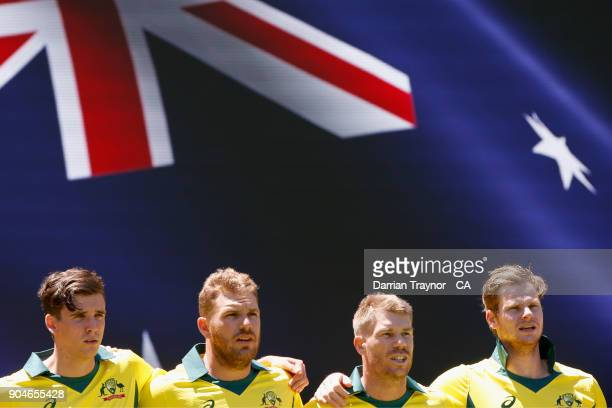 The Australian players line up for the national Anthem before game one of the One Day International Series between Australia and England at Melbourne...