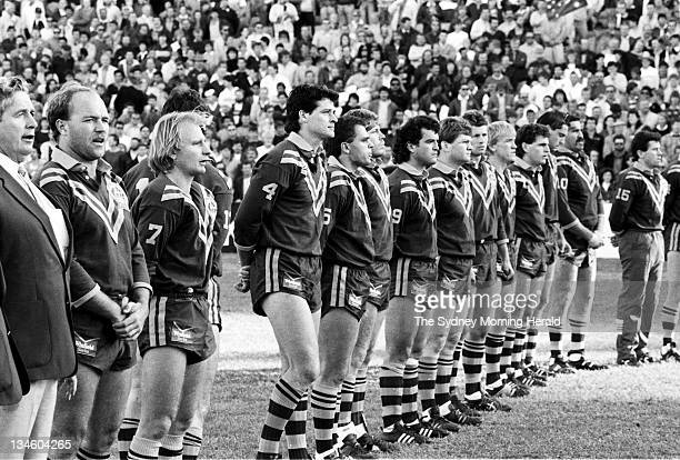 The Australian Rugby League team sings the national anthem before the test against Great Britain at the Sydney Cricket Ground 11 June 1988