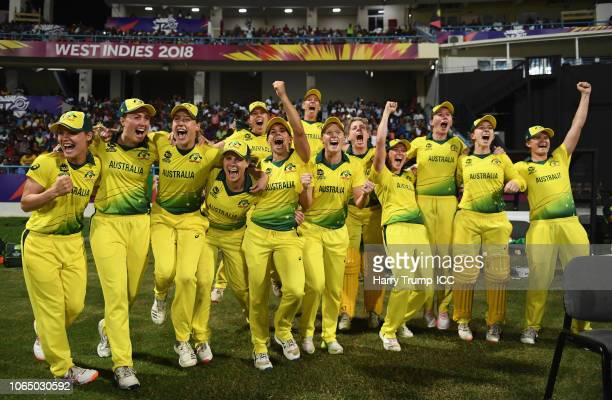 The Australian side celebrate after the final winning runs are hit during the ICC Women's World T20 2018 Final between Australia and England at Sir...