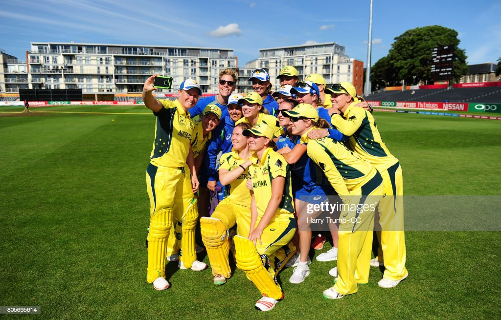The Australian side pose for a selfie during the ICC Women's World Cup 2017 match between Australia and New Zealand at The County Ground on July 2, 2017 in Bristol, England.