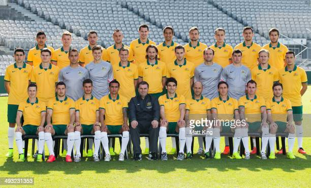 The Australian Socceroos 2014 World Cup Squad pose during the Australian Socceroos World Cup Squad official team photo session at WIN Jubilee Stadium...