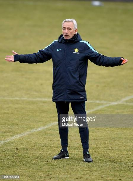 The Australian Socceroos Manager Bert van Marwijk gives instructions during a training session at Arasen Stadion on March 21 2018 in Oslo Norway