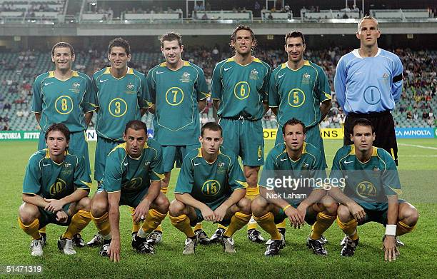 The Australian Socceroos pose for their team photo during the Oceania Nations Cup and the Confederations Cup last qualifying match between Australian...