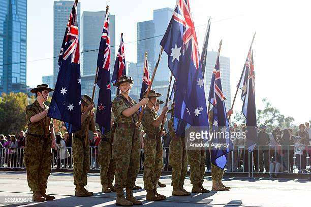 "The Australian soldiers and army band march during the ""Anzac Day Parade"" prior to 101st anniversary of the Australian and New Zealand Army Corp..."