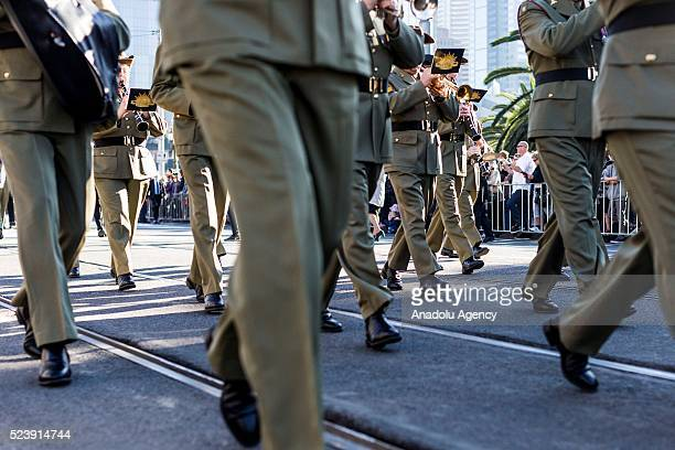 The Australian soldiers and army band march during the Anzac Day Parade prior to 101st anniversary of the Australian and New Zealand Army Corp...