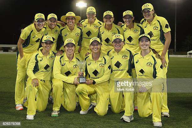 The Australian Southern Stars team pose with the trophy after their 40 series victory after winning the women's one day international match between...