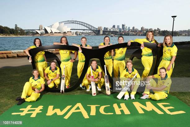 The Australian T20 squad poses during the Australian International Squad Announcement at the Fleet Steps on September 12 2018 in Sydney Australia
