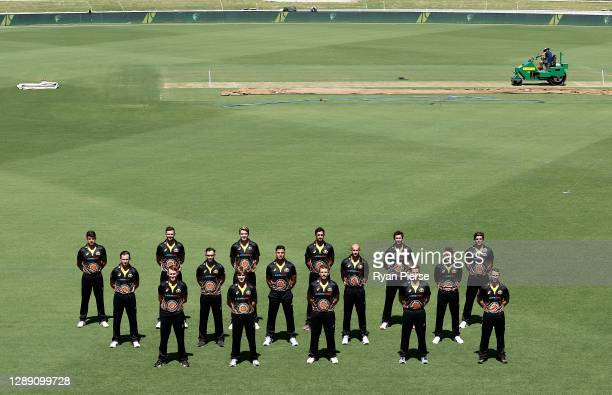 The Australian T20I squad pose for a team photo at Manuka Oval on December 01, 2020 in Canberra, Australia.