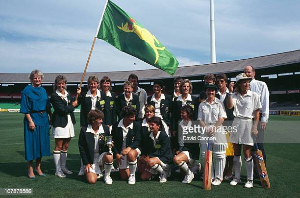 The Australian team after their victory over England in the final of the Women's Cricket World Cup at the Melbourne Cricket Ground 18th December 1988...