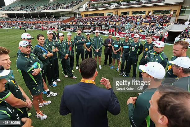 The Australian team are pictured before the start of game one of the International Twenty20 Series between Australia and South Africa at Adelaide...