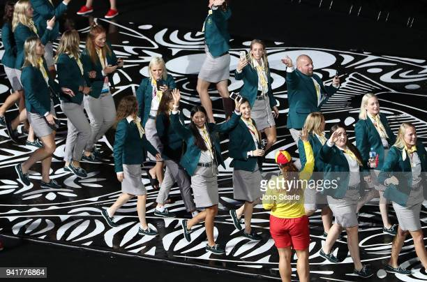 The Australian team arrives to the stadium during the Opening Ceremony for the Gold Coast 2018 Commonwealth Games at Carrara Stadium on April 4, 2018...