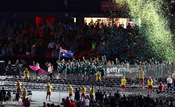 The Australian team arrives to the stadium during the Opening Ceremony for the Gold Coast 2018 Commonwealth Games at Carrara Stadium on April 4 2018...