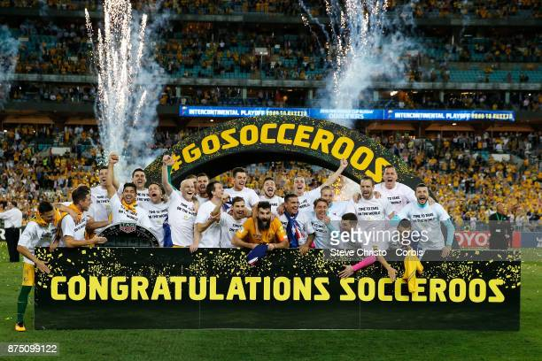 The Australian team celebrate after making the 2018 World Cup during the 2nd leg of the 2018 FIFA World Cup Qualifier between the Australia and...