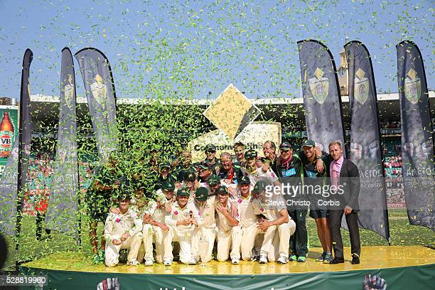 The Australian team celebrate on the podium after winning at the Sydney Cricket Ground Sydney Australia Sunday 5th January 2014