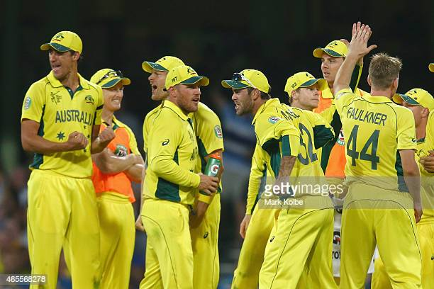 The Australian team celebrate the wicket of Tillakaratne Dilshan of Sri Lanka after he called for the DRS after being given out during the 2015 ICC...