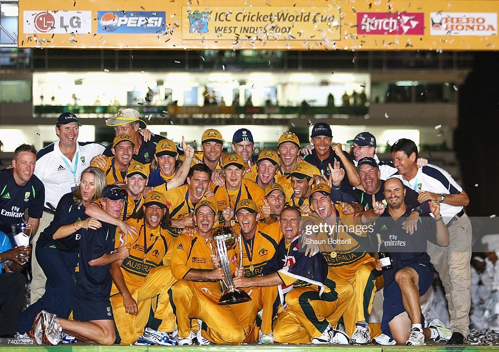 The Australian team celebrate victory after the ICC Cricket World Cup Final between Australia and Sri Lanka at the Kensington Oval on April 28, 2007 in Bridgetown, Barbados.