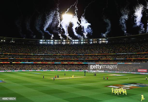 The Australian team celebrate victory during the 2015 ICC Cricket World Cup final match between Australia and New Zealand at Melbourne Cricket Ground...