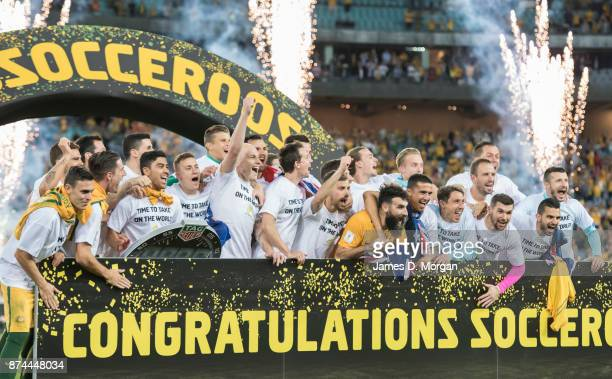The Australian team celebrate winning 31 at the 2018 FIFA World Cup Qualifiers Leg 2 match between the Australian Socceroos and Honduras at ANZ...