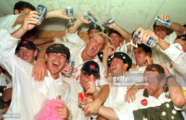 The Australian team celebrate with a few beers in the dressing room after winning the 4th Test match between England and Australia at Headingley...