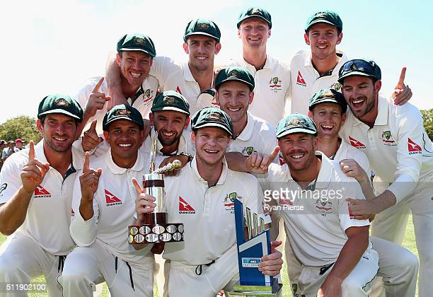 The Australian Team celebrate with Trans Tasman Trophy during day five of the Test match between New Zealand and Australia at Hagley Oval on February...