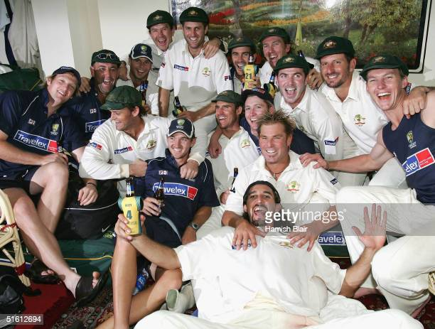 The Australian Team celebrates their win after day four of the Third Test between India and Australia played at the VCA Stadium, on October 29, 2004...