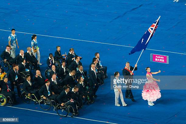 The Australian team enters the stadium during the Opening Ceremony for the 2008 Paralympic Games at the National Stadium on September 6 2008 in...