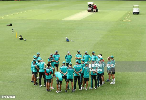 The Australian Team gather during the Australian nets session at The Gabba on November 21 2017 in Brisbane Australia