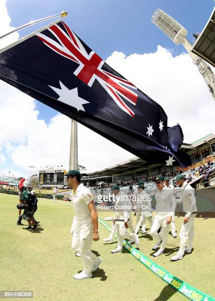 The Australian team head out to field during day five of the Third Test match during the 2017/18 Ashes Series between Australia and England at the...