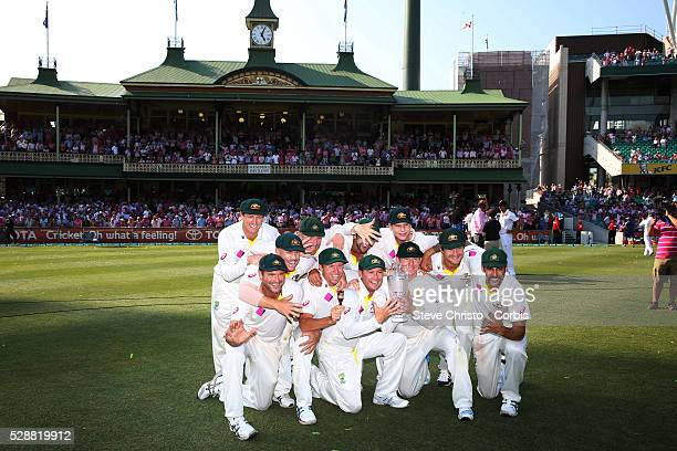 The Australian team in front of the members stand after winning the series with a 5 to 0 whitewash at the Sydney Cricket Ground Sydney Australia...