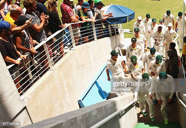 The Australian team leave the field after winning the test and series during day four of the Second Test match between Australia and the West Indies...