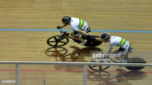 The Australian team Leigh Howard and Kelland O'Brien compete in the UCI Cycling World Cup Men's Madison final at Alcides Nieto Patino velodrome on...