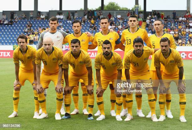 The Australian team line up during the International Friendly match between the Czech Republic and Australia Socceroos at NV Arena on June 1 2018 in...