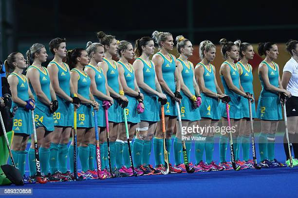 The Australian team line up for the anthem before the Women's Pool B match between Australia and Japan on Day 8 of the Rio 2016 Olympic Games at the...