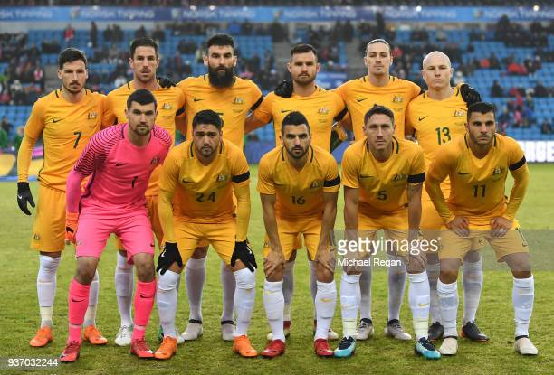 The Australian team line up prior to the International Friendly match between Norway and Australia at Ullevaal Stadion on March 23 2018 in Oslo Norway