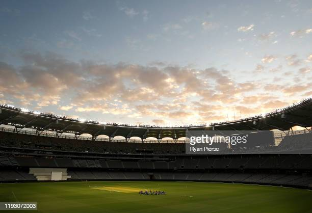 The Australian team meet on the pitch during an Australian Test team training session at Optus Stadium on December 10, 2019 in Perth, Australia.