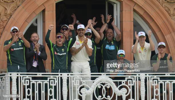 The Australian team on the dressing room balcony applaud Steve Smith of Australia as he reaches his doublecentury in the 2nd Ashes Test match between...